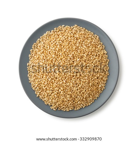 Plate of wheat , clipping path , isolated on white background - stock photo