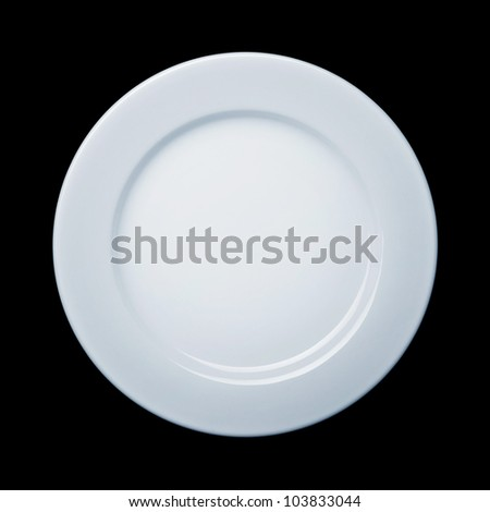 Plate on black background with path - stock photo