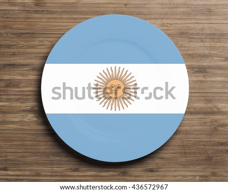 Plate on table with overlay flag of  Argentina