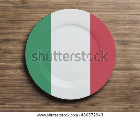 Plate on table with overlay flag of Italy