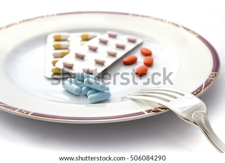 Plate ot pill with fork