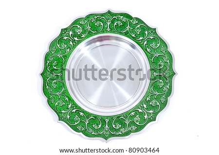 Plate Stainless steel Trophy with White Background - stock photo