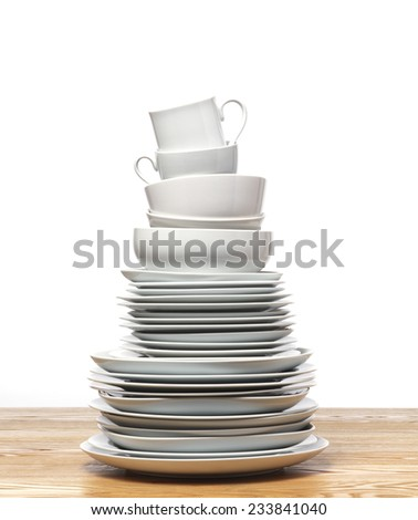 Plate Tower on tabletop - stock photo