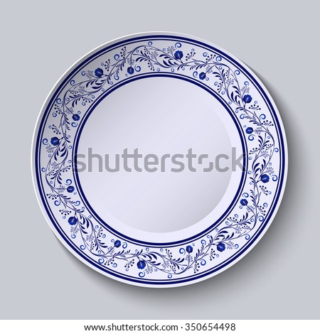 Plate with blue patterned border. Template design in ethnic style Gzhel porcelain painting.  Rasterized version. - stock photo