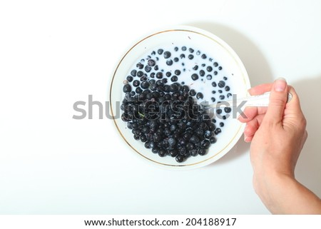 plate with blueberries in milk