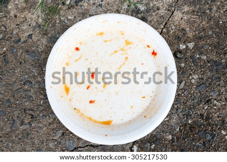 Plate with crumbs food  - stock photo