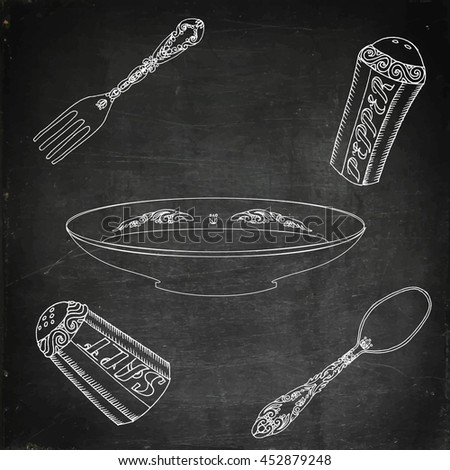 Plate with cutlery, salt and pepper. Hand drawn stock illustration. Chalk board drawing. - stock photo