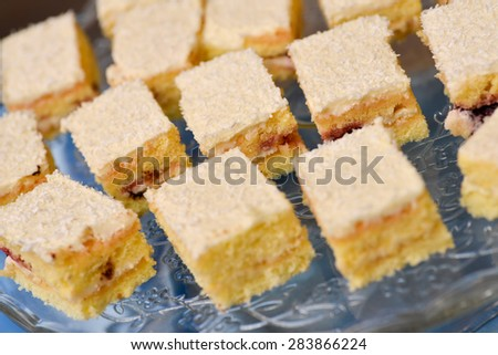 Plate with delicious white cakes with coconut