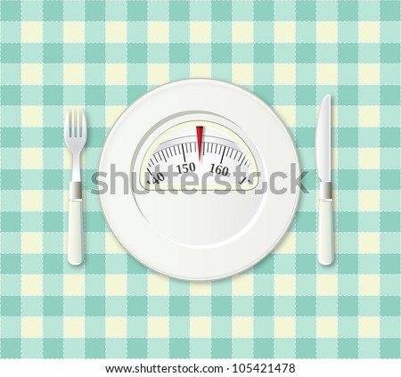 Plate with fork and knife on a plaid with a weight balance scale integrated in the plate