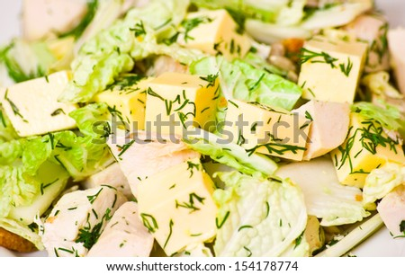 Plate with fresh caesar salad - stock photo
