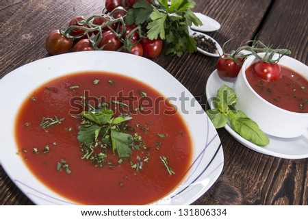Plate with fresh homemade Tomato Soup