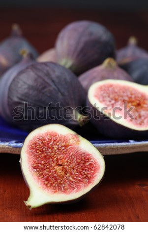 Plate with fresh organic black mission figs. Shallow dof