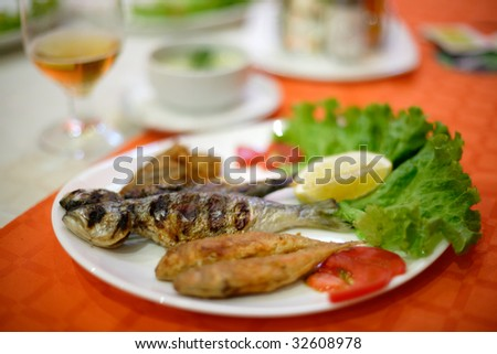 Plate with grilled fish from the Black sea, Bulgaria