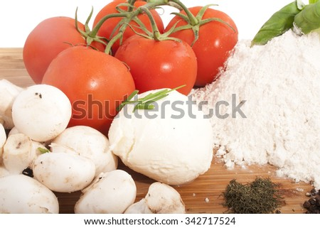 Plate with ingredient pizza isolated over white - stock photo