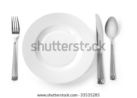 White Kitchen Utensils plate kitchen utensils fork knife spoon stock photo 33535285