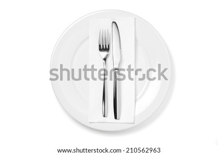 Plate with knife and fork on white background.