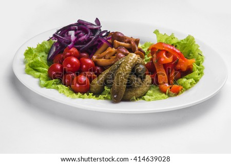 plate with marinated vegetables