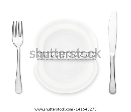 Plate with measurement, fork and knife isolated on white background.