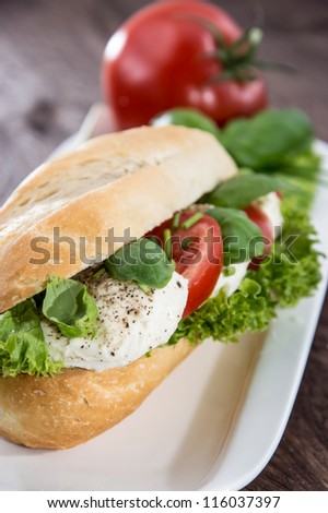 Plate with Mozzarella Baguette on wooden background