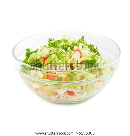 Plate with salad. Isolated on white background - stock photo
