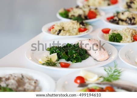 Plate with salmon and vegetables