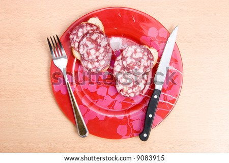 Plate with sandwich. Top view. - stock photo