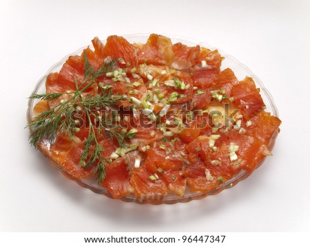 Plate with slices of red fish