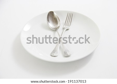 plate with spoon and folk