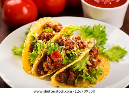 plate with taco and fresh tomatoes - stock photo