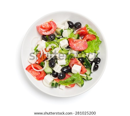 Plate with the salad on a white table , isolate - stock photo