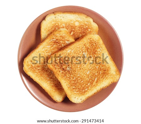 Plate with toasted bread isolated on white background, top view - stock photo