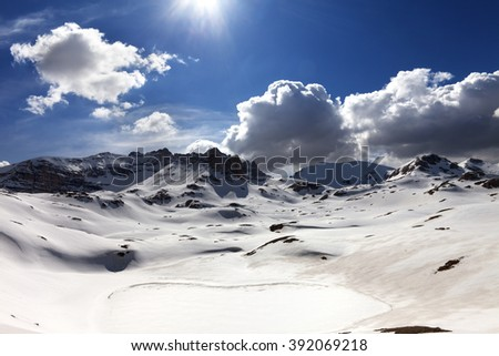 Plateau and lake covered snow. Turkey, Central Taurus Mountains, Aladaglar (Anti-Taurus), plateau Edigel (Yedi Goller). Wide-angle view. - stock photo