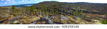 Plateau (fjelds) in Lapland, Mountain tundra, lake and old mountains, Panorama - stock photo