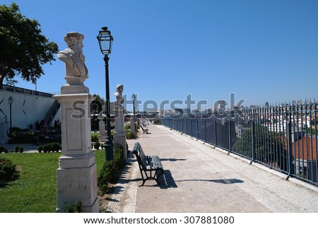 Plateau in Lisbon with blue sky and statues