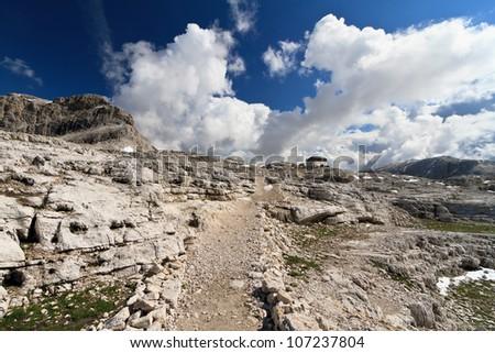 plateau in Pale di San Martino Dolomites, Trentino, Italy - stock photo