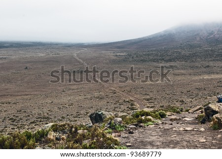 Plateau Mawenzi on the slopes of Kilimanjaro between Horombo and Kibo - Tanzania - stock photo