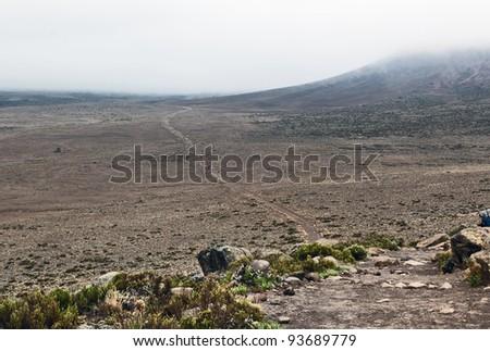 Plateau Mawenzi on the slopes of Kilimanjaro between Horombo and Kibo - Tanzania - stock photo