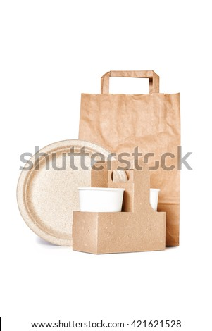 plated, package, coffee cup isolated on white background - stock photo