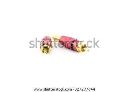 plated RCA jacks isolated on white.