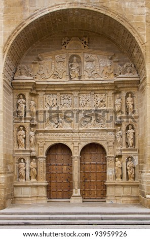 Plateresque main entrance of the Parish Church of St. Thomas the Apostle in Haro - stock photo