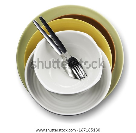 plates bowl isolated on a white background - stock photo