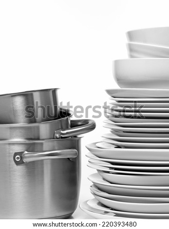 Plates in a stack - stock photo