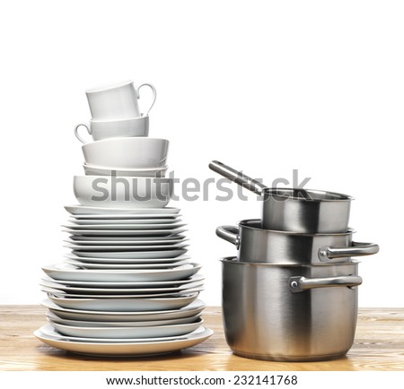 Plates in a stack on a tabletop - stock photo