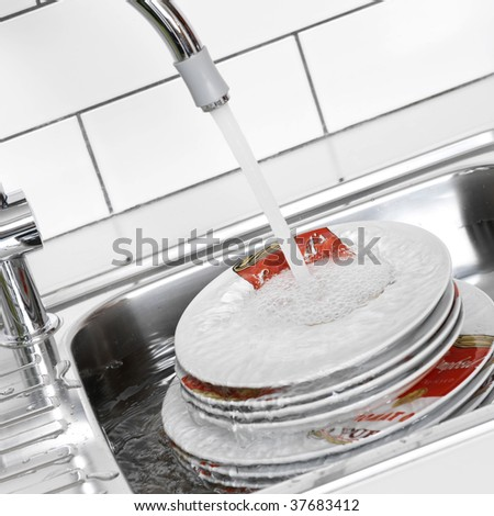 Plates in the sink