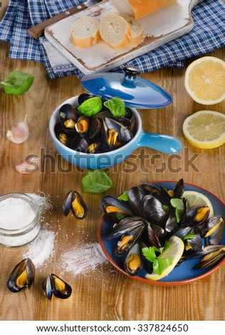 Plates of steamed mussels on wooden background. View from above - stock photo