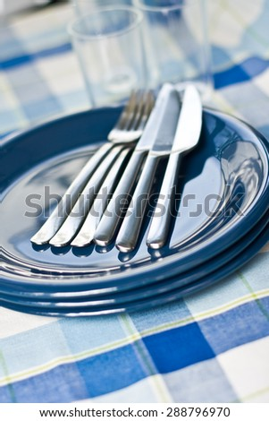 Plates on a dining table