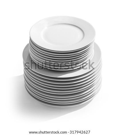 plates stack isolated on white background with clipping path