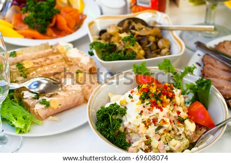 Plates with cold snack on table, cutlery for dinner, white napkin, selective focus. - stock photo