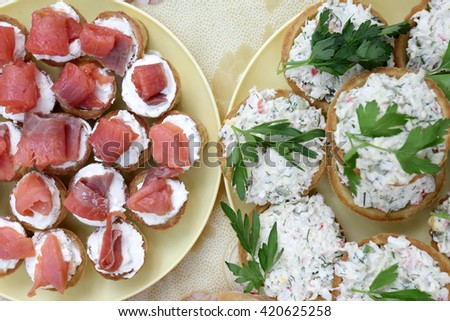 Plates with various tartlets on a table at picnic - stock photo