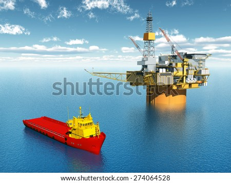Platform Supply Vessel and Oil Platform Computer generated 3D illustration - stock photo